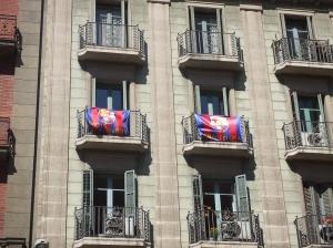 Via Laietana, Barcelona geniet nog na van de Champions League zege.