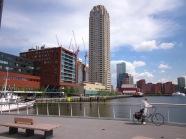 Rotterdam, vandaag; Uitzicht op de Wilhelminapier vanaf de Rijnhavenbrug (foto: René Hoeflaak)