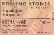 Mijn goed bewaarde entreekaartje van het optreden van The Rolling Stones op 5 juni 1982. Entreeprijs fl.40,00. (bron: René Hoeflaak)