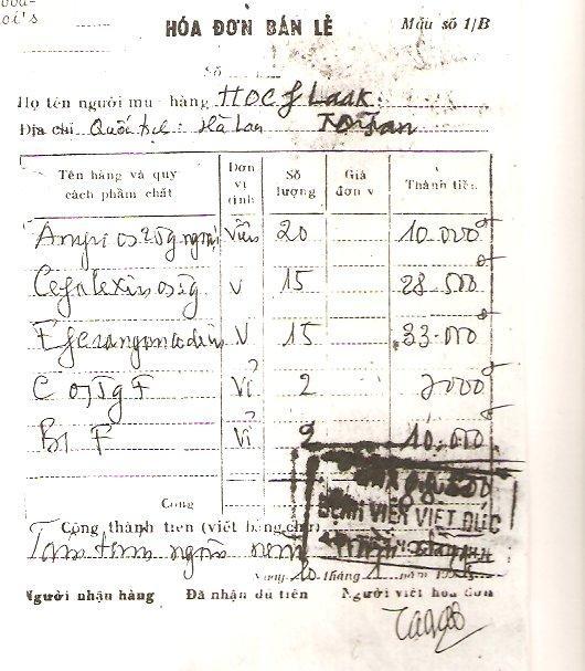 Rekening Viet Duc ziekenhuis (bron: archief René Hoeflaak)
