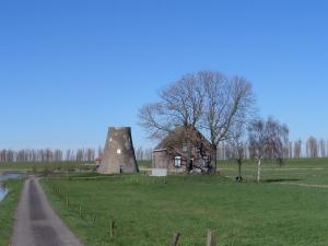 20 maart 2014: Lage Zwaluwe, Noord-Brabant: Halve molen naast boerderij langs de Willem de Botsdijk en de Binnenmoerdijkse baan (foto: René Hoeflaak)