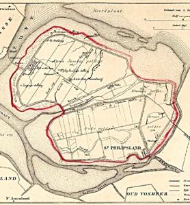 Kaart van Sint-Philipsland uit 1866. De rode lijn komt overeen met de omschreven wandeling (bron foto: www.geschiedeniszeeland.nl)