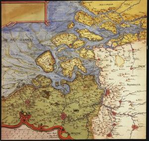 Kaart van Zeeland en het zuidwesten van Holland uit 1573 (bron: wikimapia)