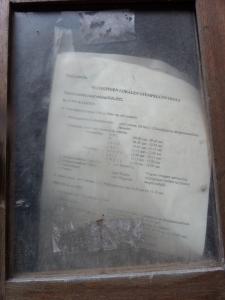 Leuven, augustus 2014: Kennisgeving uit januari 1997 in een vitrinekast aan de Eikstraat (foto: René Hoeflaak)