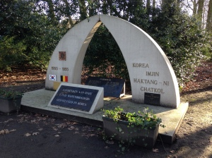 Belgie, Sint-Niklaas, 10 januari 2016: Korea monument in het Romain de Vidtspark (foto: René Hoeflaak)