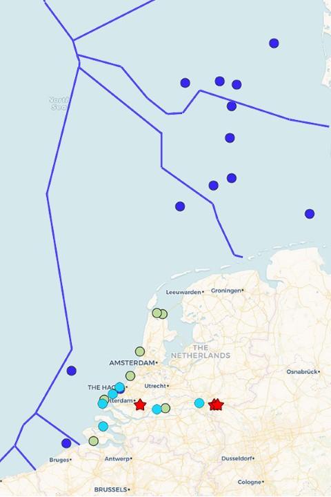 Overzicht recente steurwaarnemingen (bron: www.steurenark.eu.)